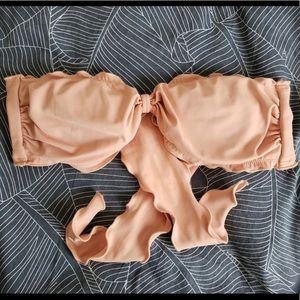 Orange Strapless VS Bikini Top
